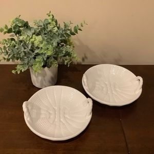 2 Small Ceramic Basket Dishes - Portugal
